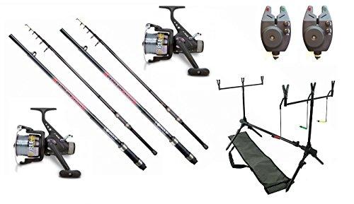 Kit de pêche complet-2cannes à carpe assemblées 3,60m/2,75lbs 40-90g, 2moulinets, 2détecteurs électronique, rodpod