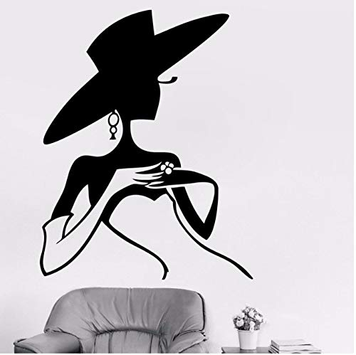 Women's hat wall stickers decals pvc shop window beauty salon clothing store wall stickers dressing room 57 * 72cm (Die Bäckerei Lady)