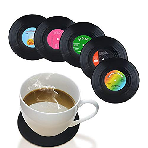 Romote Untersetzer Set von 6Musik-Untersetzer-Art Auto Bar Tee Kaffee Tisch Tasse Bier Flasche Getränken saugfähig für Wein Glas schwarz Gummi Tasse Matte-Große 10,7cm Größe (Getränke Aus Gummi Für Untersetzer)