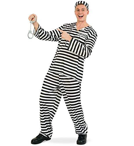 Sträfling Erwachsene Für Kostüm - KarnevalsTeufel Herrenkostüm Sträfling 3-TLG. Gefangener Verbrecher Knast Gefängnis (XX-Large)
