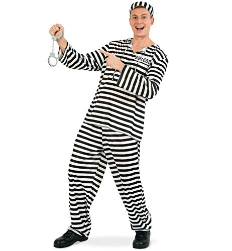 Kostüm Sträfling Gefängnis - KarnevalsTeufel Herrenkostüm Sträfling 3-TLG. Gefangener Verbrecher Knast Gefängnis (Large)