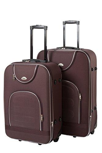 Edelnice Koffer Set de bagage Noir marron L+XL