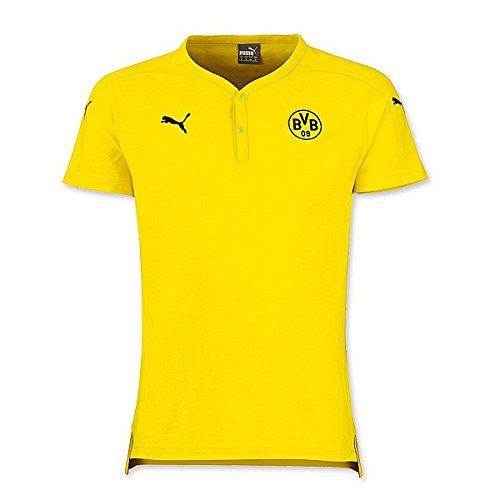 Puma BVB Casuals Henley Tee w/o - cyber yellow-black, Größe:M (Henley Tee Logo)