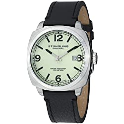 Stuhrling Original Leisure Eagle Square Men's Quartz Watch with Analogue Display and Black Leather Strap