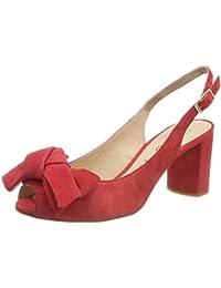 Faux Suede Strap Sandals, Scarpe col Tacco Punta Aperta Donna, Rosso (Red 00), 39 EU Quiz