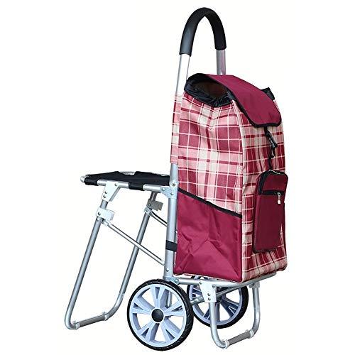 IYHFXVCBD Einkaufswagen ZGL-Trolley-Handwagen-Einkaufswagen Alter Mann-Einkaufswagen-Tuch-Beutel-tragbare Gepäckanhänger-Falte mit Sitztrolley-Handauto (Farbe: Blau) Rad-Einkaufskorb (Farbe : Red)