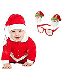 Urvi Creations 1 Pcs 6-12 Month Christmas Xmas Santa Claus Dress/Costume/Fancy Dress Baby Santa Dress for Kids ,Boys ,Girls with Eye Goggles