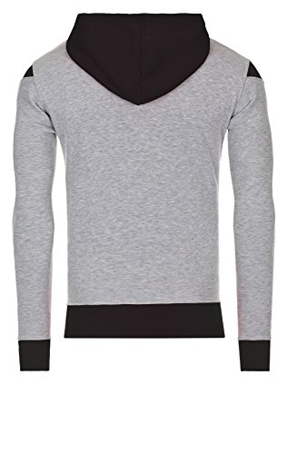 WOOSAH Herren Sweatshirt Shaco grey melange / white / navy blue (1034)