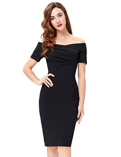 Wellness-kleid (Belle Poque 1950er Style Vintage Kleid Elegant Etuikleid Knielang Festliche Kleider ZYBP000155 (36, Stil3: Schwarz))