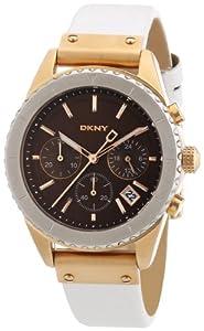 Reloj DKNY NY8516 de cuarzo para mujer con correa de acero inoxidable bañado, color blanco de DKNY
