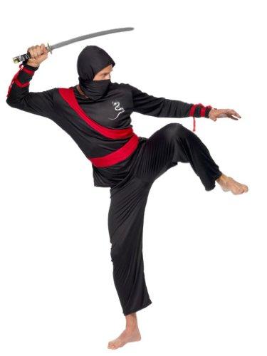 Smiffy's - Ninjakostüm schwarz und rot für Herren - L (Ninja Herren Kostüm)