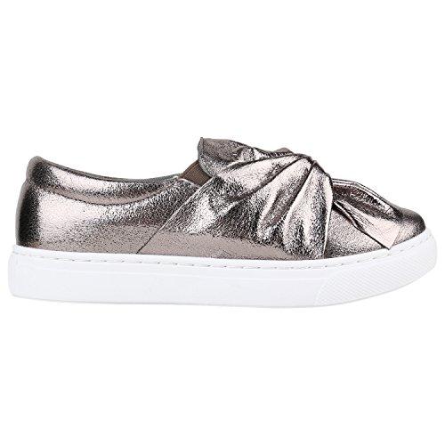 Damen Sneakers Slip-ons Lack Glitzer Metallic Slipper Schuhe Grau Metallic Schleife
