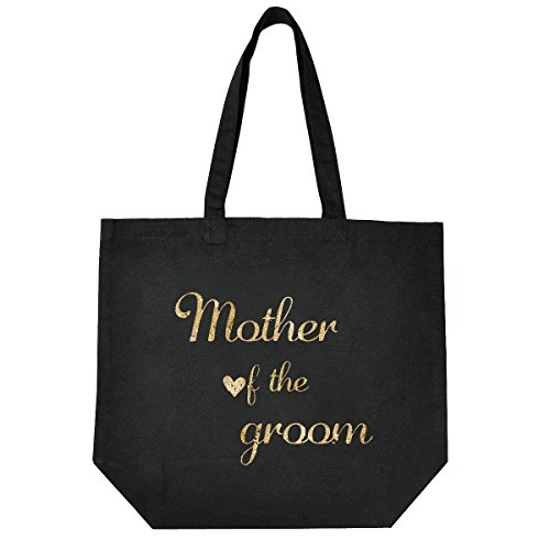 ElegantPark Mother of the Bride Groom Handmade Einkauftstasche Hochzeit Braute Schwarz Canvas Schultertasche Tasche 100% Baumwollen mit Gold Skript Mother of the Groom