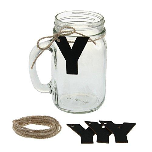 Ivy Lane Design Mason Jar 12 Mugs Kit with Jute and Chalkboard, Letter Y