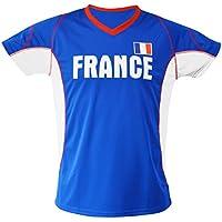 SportTeam Team Fútbol Camiseta de FR, Unisex, Fußball T-Shirt FR, Azul/Blanco, Large