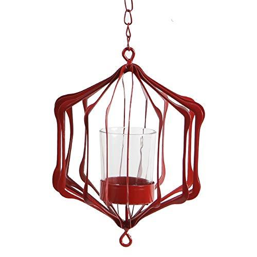 Unbekannt Kerzenständer Hängende Teelichthalter aus Metall Mittelstücke/Deko-oder Weihnachtstischdekorationen 3er-Pack, Farbe optional (Farbe : Rot)