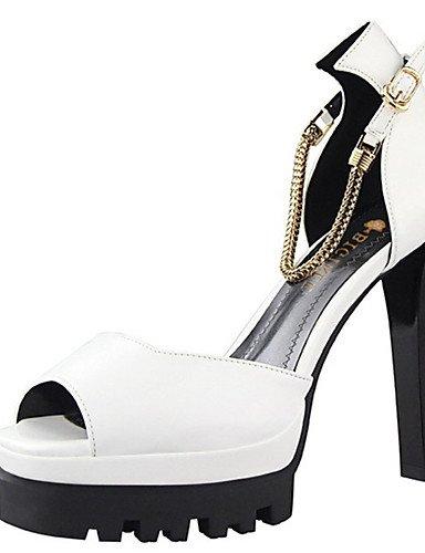 WSS 2016 Chaussures Femme-Décontracté-Noir / Blanc / Argent / Bordeaux-Talon Aiguille-Talons-Chaussures à Talons-Cuir Verni black-us6 / eu36 / uk4 / cn36