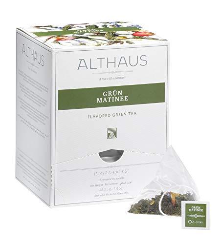 Althaus Pyra Pack Grün Matinee 15 x 2,75g · Grüner Tee im Pyramidenbeutel