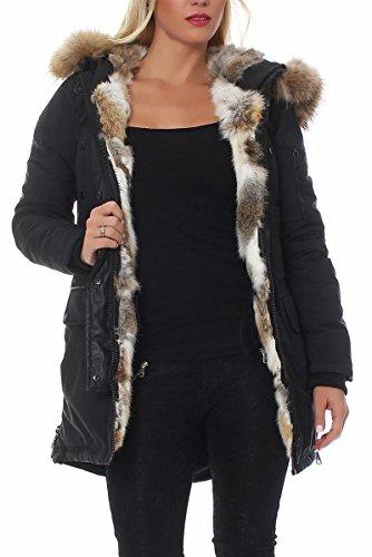 Parka elegante da donna, con vera pelliccia, invernale d2222 nero 38