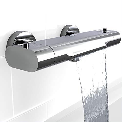 EISL Badewannenarmatur CARNEO, Mischbatterie mit Thermostatregulierung, Wasserfall-Auslauf, Sicherheitssperre bei 38°C, geringere Stoßgefahr durch kurzen Überhang, Chrom 1330090