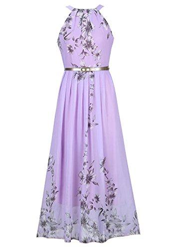 Ruiyige Frauen lange Chiffon Blume Kleider Sommerkleider Ärmelloses Strandkleid Elegantes Maxi Kleid Lila - Kleid Chiffon-langes Lila