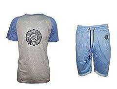 Idea Regalo - completo mare uomo mezza manica e pantaloncino NAZIONALE ITALIANA art. NB0003 (L, jeans)