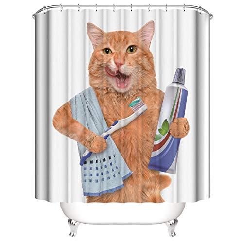 Yinyinchao Cat Wash,Zahnbürste,Zahnpasta Und Handtuch Deko Duschvorhang,3D-Druck,Wasserdicht,Mildewproof,Schnelltrocknen,Möbelzubehör,180X180Cm