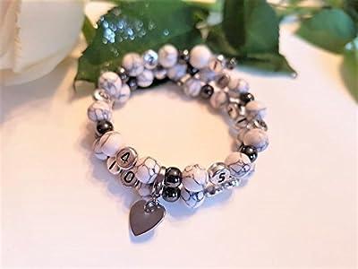 Bracelet d'allaitement PERSONNALISE en perles semi precieuse Howlite et Hématite