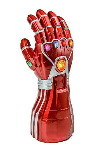 Iron Man Handschuhe Dekoration Infinity Gauntlet Endgame Tony Stark Thanos Rot Harz Handschuhe mit Leuchtkraft Edelsteine Replik Erwachsene Halloween Cosplay Kostüm Merchandise Sammlung