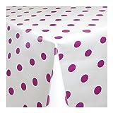 Wachstuch Tischdecke Wachstischdecke Gartentischdecke, Abwaschbar Meterware, Länge wählbar,Pinke Punkte auf weißem Untergrund (039-06) 310cm x 140cm
