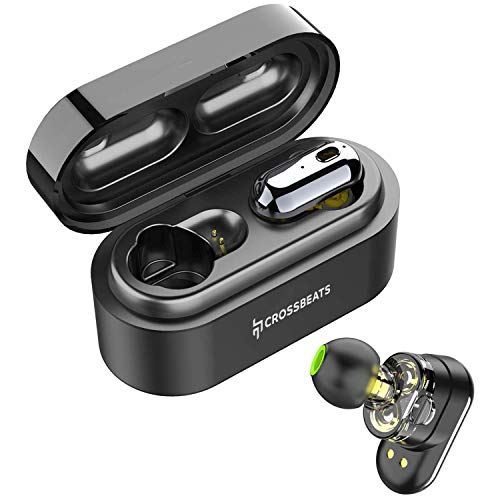 CrossBeats Elektra 2019 Latest Dual Driver True Wireless in-Ear Earbuds Earphones Headphones | Bluetooth 5.0, in-Built Microphone, 3D Sound, 12H Playtime, Auto Pairing Sports Headset, Stereo Calls