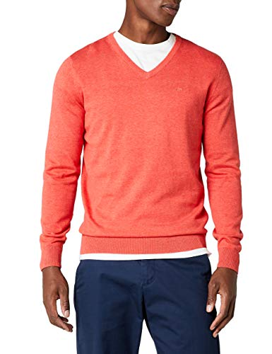TOM TAILOR Herren Sweatshirt Basic v-Neck Sweater, Rot (Fresh Hyacinthe Red Melange 4803), X-Large