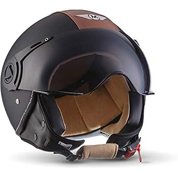 """Helm Motorrad Mofa Roller matt schwarz mit Leder braun NEU Größe L CMX /""""Hazel/"""""""