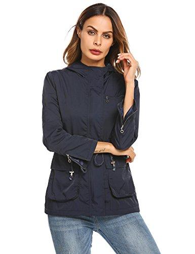 Zeela Damen Herbst Jacken Anorak Wasserdichter Parka Softshell Übergangsjacke Funktionsjacke mit Kapuze Blau