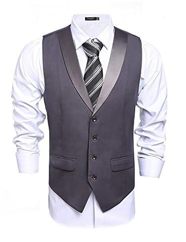 Coofandy Weste Herren Anzug V-Ausschnit Vintage Geschäftsweste Anzugweste (XXL(für 180-185cm), Grau)