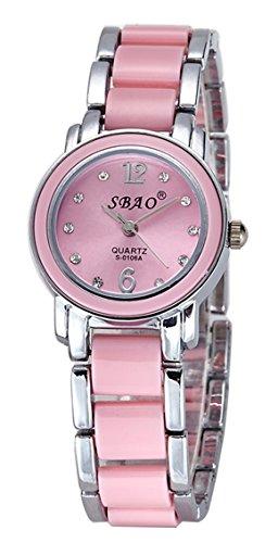 Art- und Weiseimitat keramische Frauen-Dame-Armband-Uhr-wasserdichte Quarz-Diamant-Kursteilnehmer-Armbanduhr mit Uhr-Kasten (silber und rosa)