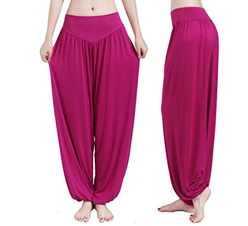 Hippolo Femmes Yoga doux Harem Pilates Lounge Pants Leggings (M, Rouge) Red Rose