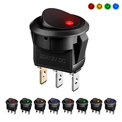 Interruptores para Coche, MiMoo 8pcs LED Interruptor Coche Rocker Interruptor 12 V...