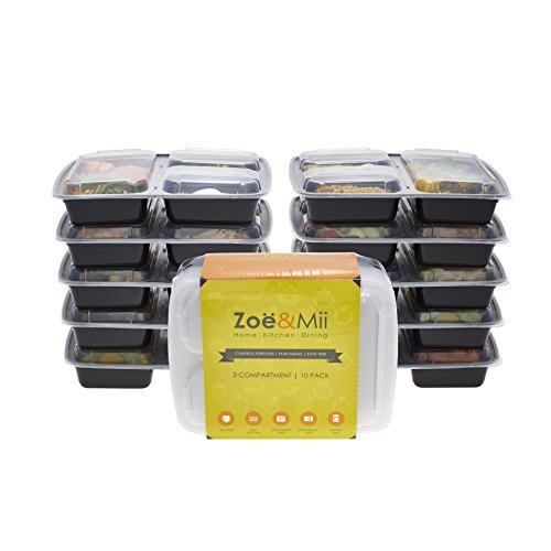 [10er Pack] 3-Fach Meal Prep Container Set Mikrowellenfest Geschirrspülerfest Einfrierbar Bento Lunch Box Essen box Sets BPA-Frei. Gratis E-book von Zoe & Mii