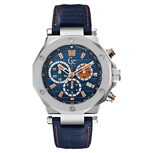 Guess Collection Men's Chronograph Swiss Quartz Watch with Blue Orange Tone Leather Strap X720229G7S Gc-3 Sport Chic Collection