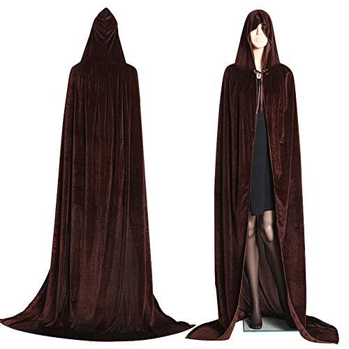 Unisex Lange SAMT Mit Kapuze Mantel Cape Deluxe Vampir Kostüm Hochzeit Hexe ()