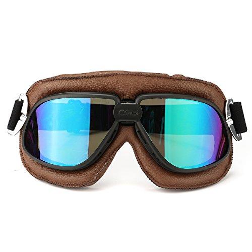 Wooya Motorrad Retro-Brille Fliegen Roller Helm Winddicht Gläser Anti-Uv-Braunen Rahmen-Bunt