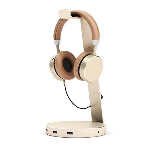 SATECHI Aluminium USB Kopfhörerständer mit DREI USB 3.0 Anschlüssen und 3,5mm AUX Anschluss – Für alle Kopfhörergrößen geeignet (Gold)