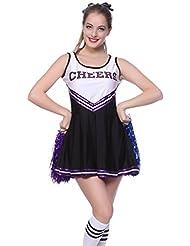 Cheerleader Kostuem Uniform Cheerleading Cheer Leader mit Pompom Minirock GOGO Damen Maedchen Karneval Fasching
