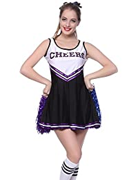 Cheerleader Kostuem Uniform Cheerleading Cheer Leader mit Pompom Minirock GOGO Damen Maedchen Karneval Fasching