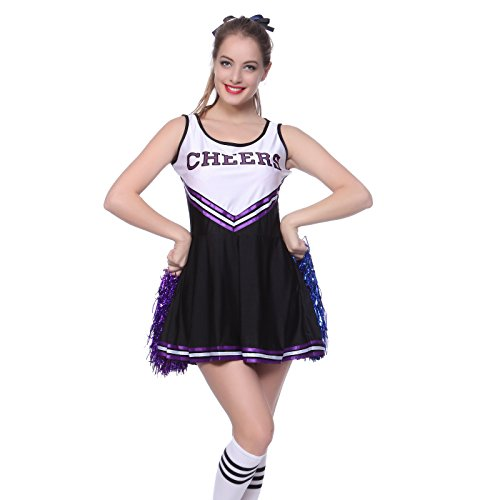 XL Cheerleader Kostuem Uniform Cheerleading Cheer Leader mit Pompom Minirock GOGO Damen Maedchen Karneval (Uniformen Cheerleader)