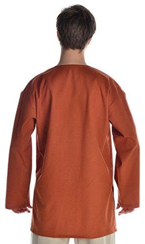 Moyen naturel et tunique chemise homme gewandung sous coton rouille Orange - Orange