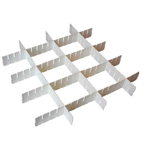 Organizador para Cajón 7 Piezas Plástico Blanco Ajustable - 7 Separadores de 43cm - 5cm de Profundidad - Organizadores para Escritorio, Cajones, Baño, Cocina y Habitación - Set Separadores