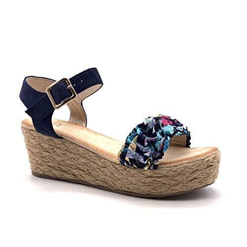 Angkorly - Damen Schuhe Sandalen Espadrilles - High Heels - Lässig - romantisch - String Tanga - Schal drucken - mit Stroh Keilabsatz high Heel 6.5 cm - Blau F06 T 39 -