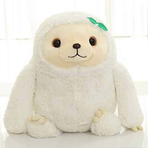 YunNaSi kuscheliges Plüsch-Faultier, weiches Stofftier, Spielzeug für Kinder oder Erwachsene, Braun / Weiß, weiß, 50 cm